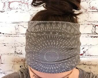 Gray Tribal Mandala - Eco Friendly Yoga Headband