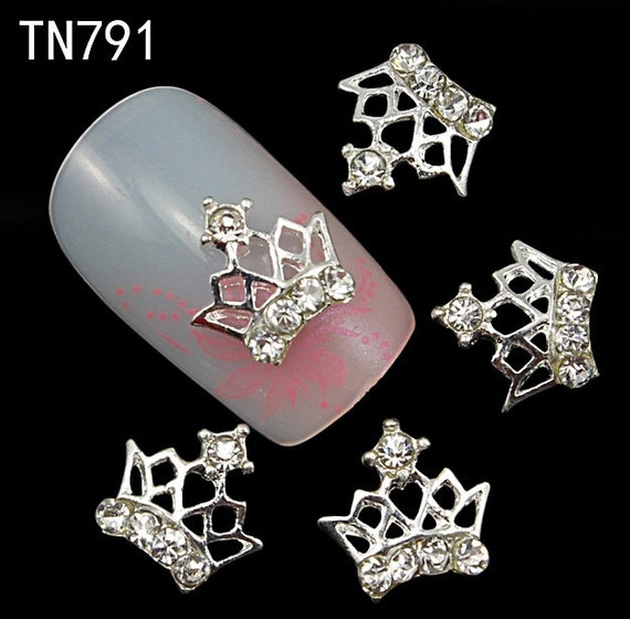 3d Glitter Crown Alloy Nail art with Rhinestore Charms 10PCS