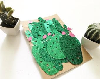Glitter Cactus Garland - Cacti Garland - Cactus Banner - Fiesta - Cinco de Mayo - Fiesta Party