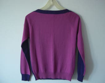 Two color sweater wool/vintage 80s sweater/Purple pink sweater/small size