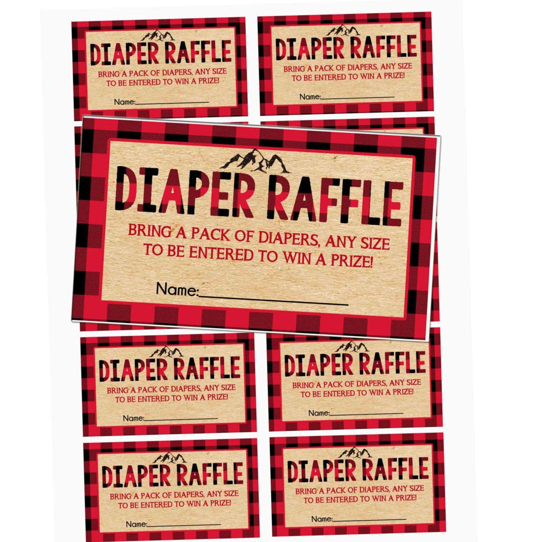 LUMBERJACK Diaper Raffle tickets Lumberjack Baby Shower