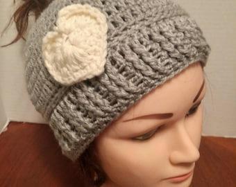 Ladies Messy Bun Crochet Beanie