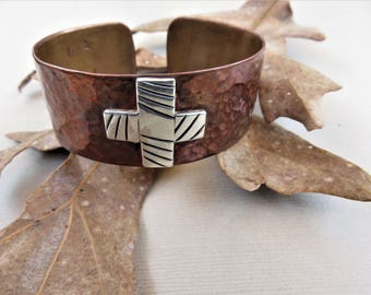 Copper Cuff Bracelet with a Sterling Cross, Equal Arm Cross, Handmade Copper Bracelet, Solid Copper Cuff Bracelet, Sterling Cross