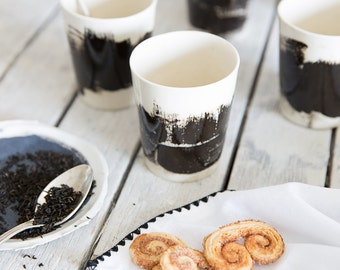 Ceramic Cups Set, Unique Ceramic Coffee Mugs Set, Ceramic Espresso Mug, Black And White Cup, Urban Kitchen, Kitchen Decor Gift