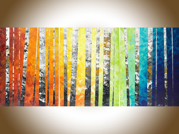 54Autumn Birch Rainbow color set of 3 painting Colorful