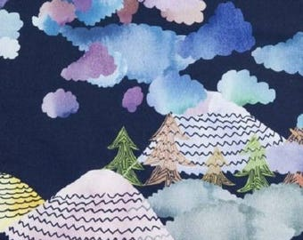 Fabric by the yard, clouds, trees, mountains, småland, Japanese style