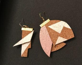 Cork Abstract, asymmetrical earrings