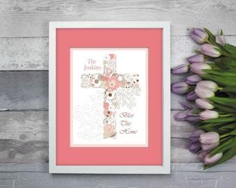 Cross Artwork, Cross Print, Religious Artwork, Religious Gift, Gift for Nun, Housewarming Gift, Personalized Artwork, Personalized Cross