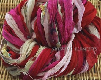 Sari Silk, Candy Clown, Fair Trade, 5 Yards, Silk Ribbon, Silk Textile, Textile, Art Yarn, Ribbon, Silk, Artwear Elements, #103