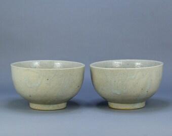 Vintage Pair of Japanese Rice/Tea Bowl Celadon Glaze Pottery Chawan