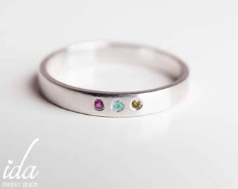 Personalized Birthstone Jewelry - Three Birthstone Ring - Mothers Ring - New Mom Jewelry - Silver Birthstone Ring - Sterling Silver Ring -