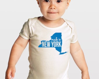 SALE -- Made in New York State -- Screenprinted Organic Cotton Baby One Piece