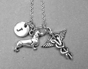 Dachshund dog necklace, Veterinary necklace, Veterinarian doctor necklace, VET doctor jewelry, animal nurse gift, Veterinary Physician