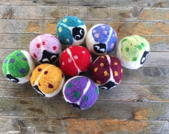 Dryer Balls - Wool Love Bug Ladybugs
