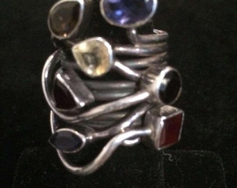 Silver Multi Gem Ring