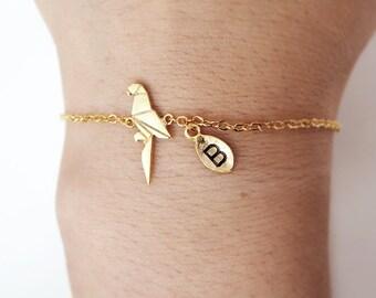 parrot bracelet, Personalized bracelet, initial bracelet,  Personalized Jewelry, friendship bracelet, animal