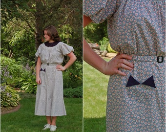 1930s Feedsack Dress / Handmade 1930-Style Dress / Art Deco / Depression Era / Feedsack / Size L-XL
