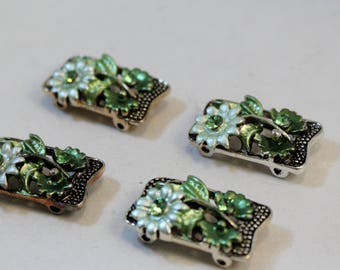 Double Strand Antique Silver Green Flower and Rhinestone, Plated Pewter Link, Connector, Spacer Bar Findings, 4 pieces