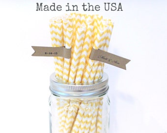 25 Yellow Paper Straws, Paper straws, Made in the USA, Vintage Wedding, Rustic Yellow Baby Shower Straws, Pink Lemonade Party Supplies