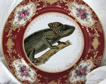 Red Gold Vintage Gecko Plate, Chameleon Plate, Reptile Plate, Reptile China, Chameleon China, Nature Plate, Animal Plate, Antique Nature