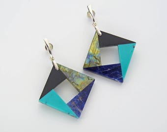 Obsidian Labradorite Sodalite Chinese Turquoise intarsia & sterling silver 1980s style Cruel Summer E003 dangle earrings