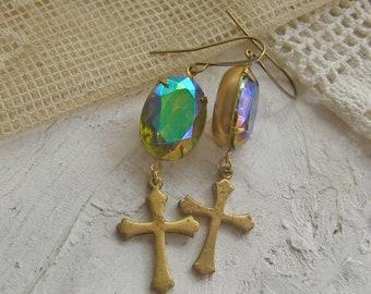 Cross Earrings, Religious Dangle earrings, Vintage Rhinestone Earrings, AB Color Changing Jewelry, Vintage Assemblage Earrings