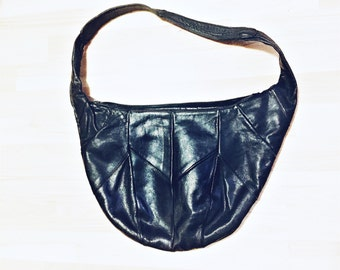 Large Black leather hobo bag