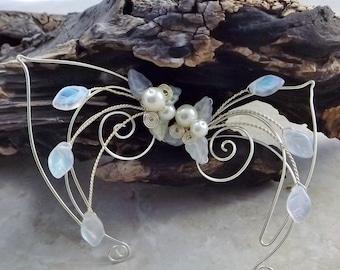 Frost White Aurora Elf Ear Cuff Wrap Pair or Single, Bridal Ear Cuff