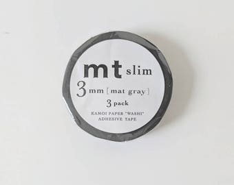 Matte Grey - Thin 3mm Washi Tapes by MT Masking Tape - Set of Three