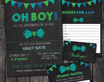 Printable Boy tie baby shower invitation, baby shower boy, baby shower bow tie, baby wishes, diaper raffle, baby shower digital invitation