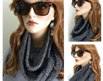 Smoky Gray Infinity Scarf Hand Crocheted in  Fall Winter Womens Accessories holiday gift ready to ship