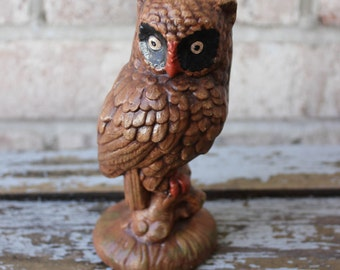 vintage Owl folk art hand painted 1976