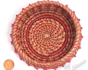 Candy Apple a pine needle basket with beaded sides,