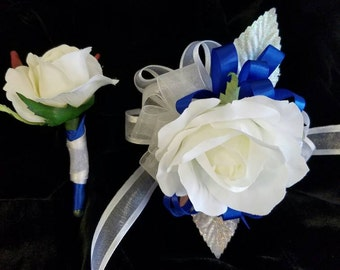 White and Royal Blue Prom Corsage and Matching Boutonniere