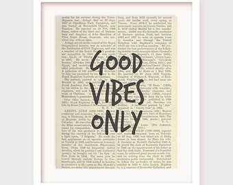"""Typographic Print Wall Art """"Good Vibes Only"""" Digital Download, Printable, Wisdom Art, Word Art, Wall Quotes, Inspirational"""
