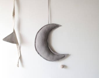 Moon mobile/wall hanging//dusky grey linen/natural mix..