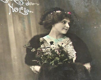 1900s French Postcard, Edwardian lady in fur, RPPC real photo, paper ephemera.
