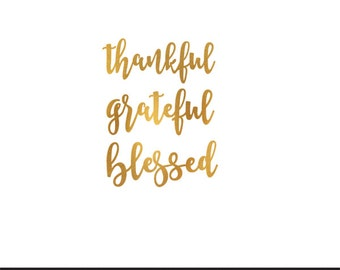thankful grateful blessed gold foil clip art svg dxf file instant download silhouette cameo cricut digital scrapbooking commercial use