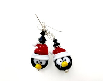 Christmas Earrings, Penguin Lampwork Earrings, Glass Bead Earrings, Dangle Drop Earrings, Lampwork Jewelry, Red Black Beaded Earrings