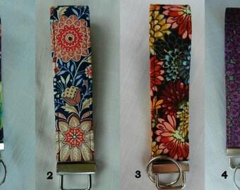 Multi color florals fabric, Key Fob, Key chain, Wristlet, Camera Strap