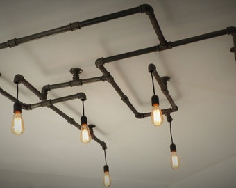 6 bulbs cast iron pipe chandelier
