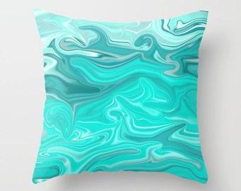 Decorative Throw Pillow Cover - Square, Rectangular, Double-sided print, Indoors, Outdoors, Silk, Waves, Christmas, Turquoise, Swirl, Marble