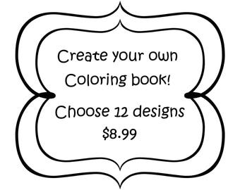 Create your own Grayscale coloring book 12 designs