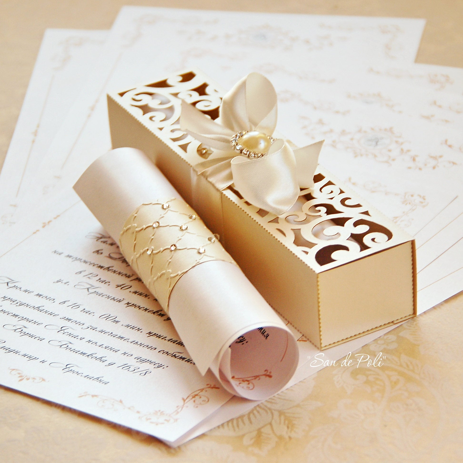 Wedding Box Invitations Scroll Roll Card Template Swirl