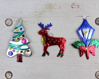 Handmade Mexican Tin Ornaments (Set of 3) Vintage Christmas Tree-Fiesta-Xmas-Gift Ideas-Holiday-Southwest-Coco-Amor-Folk Art-Handcrafted-114