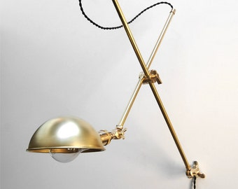 Wall Lamp - Adjustable Lamp - Bedside Lamp -  Extension Lamp - Boom Lamp - Articulating Lamp - Sconce - Industrial Brass Scissor Lamp Light