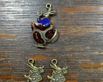 Alice in wonderland themed charms set of 3 double sided carms