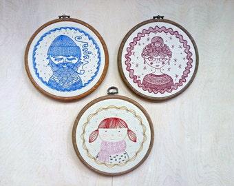 SEA CAPTAIN FAMILY - pdf embroidery pattern set, sailor design, embroidery design, nautical theme, sea captain, captains wife, by cozyblue