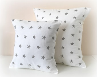 "White & Grey Star  Cushion Cover Pillow Nursery 12"" or 16"""