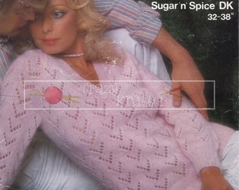 Lady's Lacy Sweater DK 32-38in Sirdar 5862 Vintage Knitting Pattern PDF instant download